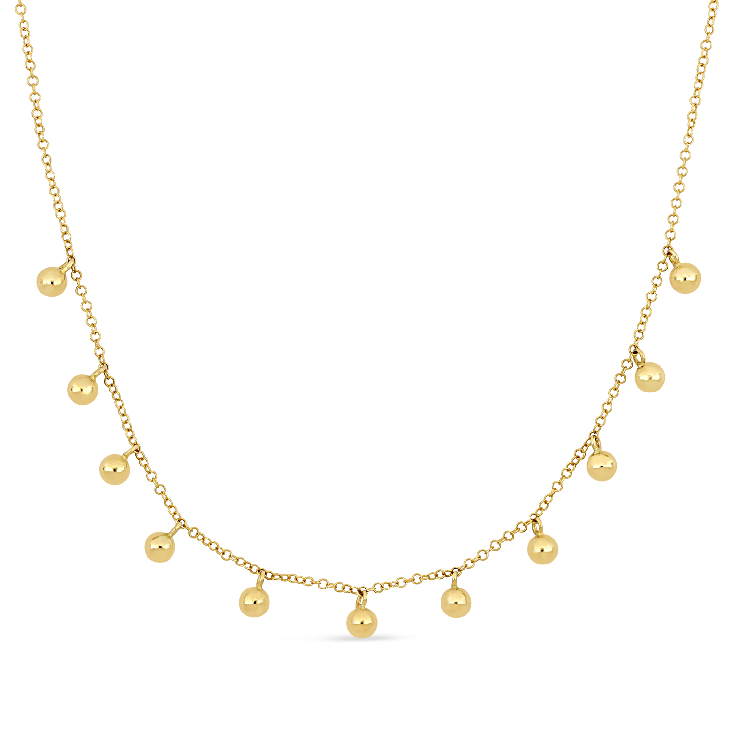 Fancy Spheres Necklace 18k Yellow Gold