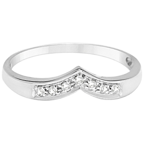 Classic Chevron V Shaped Diamond Ring 14k White Gold (0.10ct)