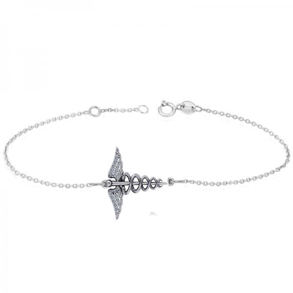 Diamond Caduceus Medical Symbol Bracelet 14k White Gold (0.13ct)
