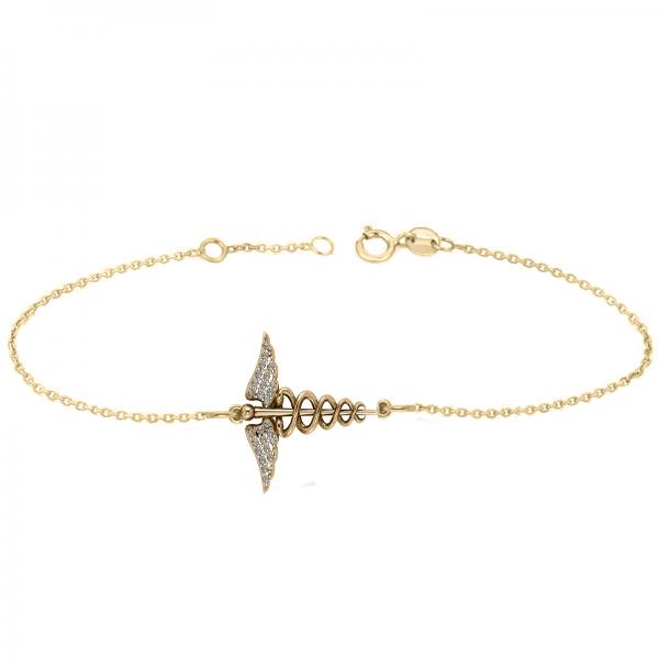 Diamond Caduceus Medical Symbol Bracelet 14k Yellow Gold (0.13ct)