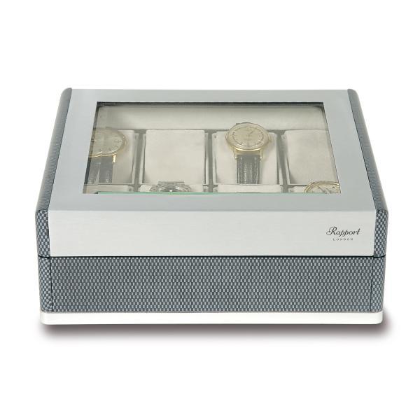 Rapport London F3 Carbon Fiber Collectors 8 Watch Box w/ Glass Lid