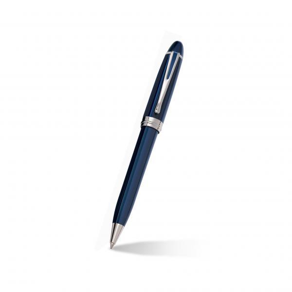 Aurora Ipsilon Blue Ballpoint Pen w/ 14k White Gold Trims