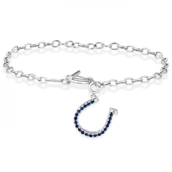 Diamond & Sapphire Horseshoe Toggle Bracelet 14k White Gold (0.23ct)