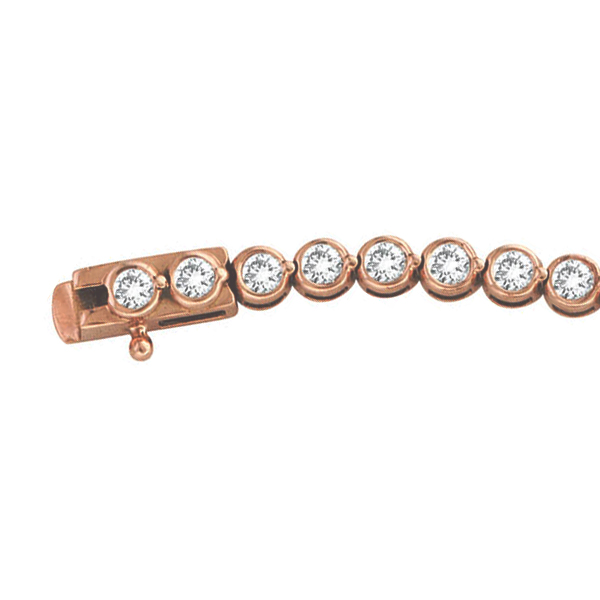 Diamond Bezel-Set Tennis Bracelet in 14K Rose Gold (2.00ct)
