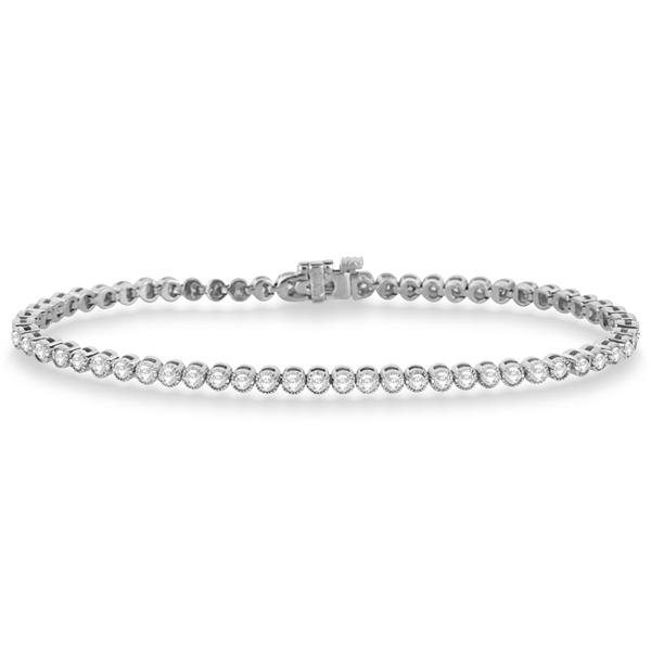 Bezel Set Eternity Diamond Tennis Bracelet 14k White Gold (2.00ct)