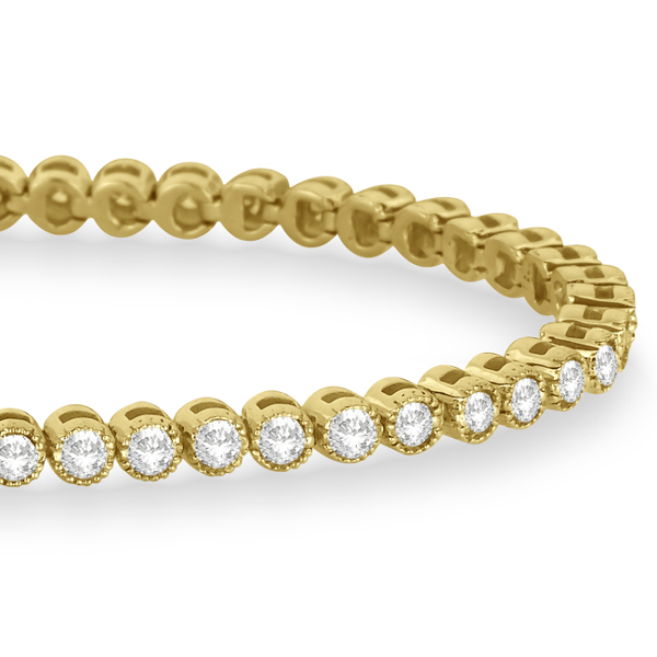 Bezel Set Eternity Diamond Tennis Bracelet 14k Yellow Gold (2.00ct)