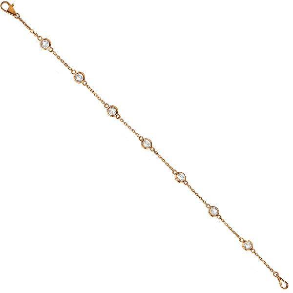 Diamond Station Bracelet Bezel-Set 14K Rose Gold (0.75ct)