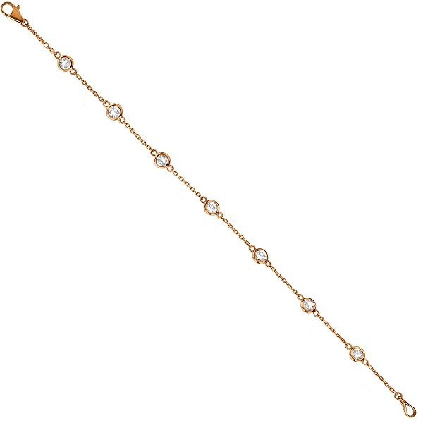 Diamond Station Bracelet Bezel-Set 14K Rose Gold (1.00ct)