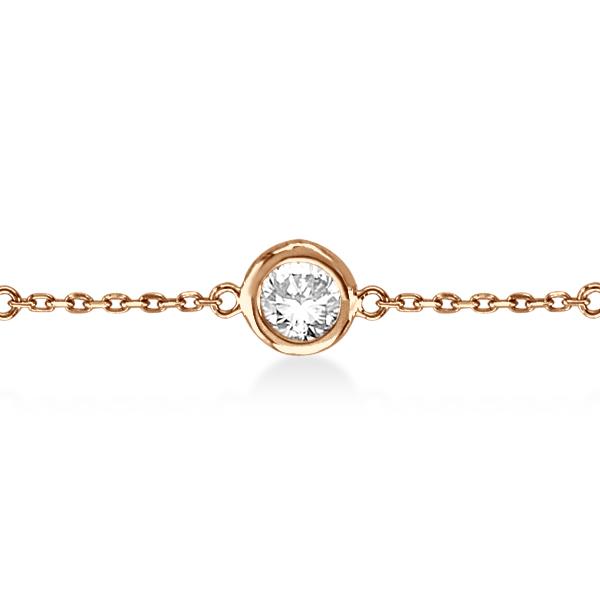 Diamond Station Bracelet Bezel-Set 14K Rose Gold (1.50ct)