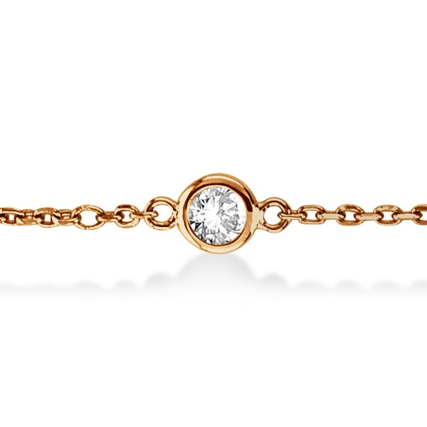 Diamond Station Bracelet Bezel-Set 14K Rose Gold (0.37ct)