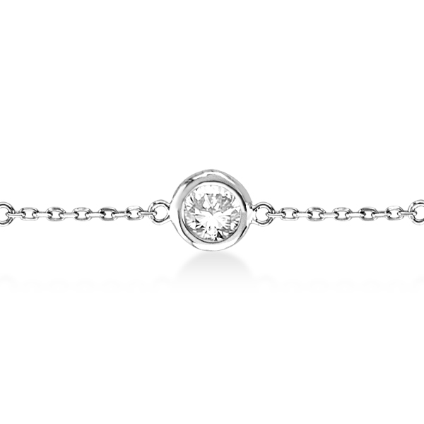 Diamond Station Bracelet Bezel-Set 14K White Gold (1.50ct)