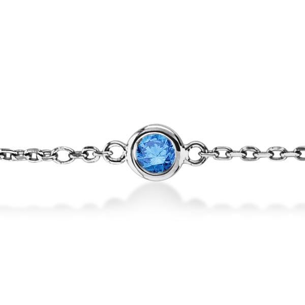 Fancy Blue Diamond Station Bracelet Beze-Sett 14K White Gold (0.75ct)