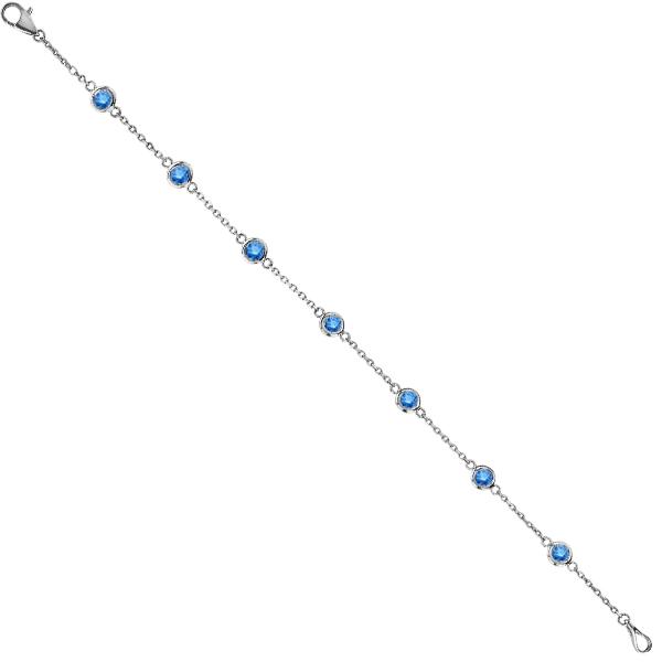 Fancy Blue Diamond Station Bracelet Beze-Sett 14K White Gold (1.50ct)