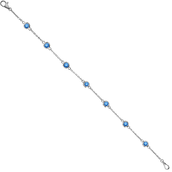 Fancy Blue Diamond Anklet Bracelet 14K White Gold (0.25ct)