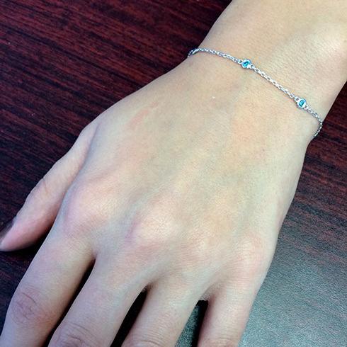 Fancy Blue Diamond Station Bracelet Beze-Sett 14K White Gold (0.25ct)