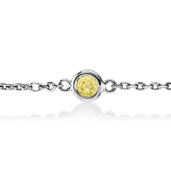 Fancy Yellow Diamond Station Bracelet Beze-Set 14K White Gold (0.75ct)