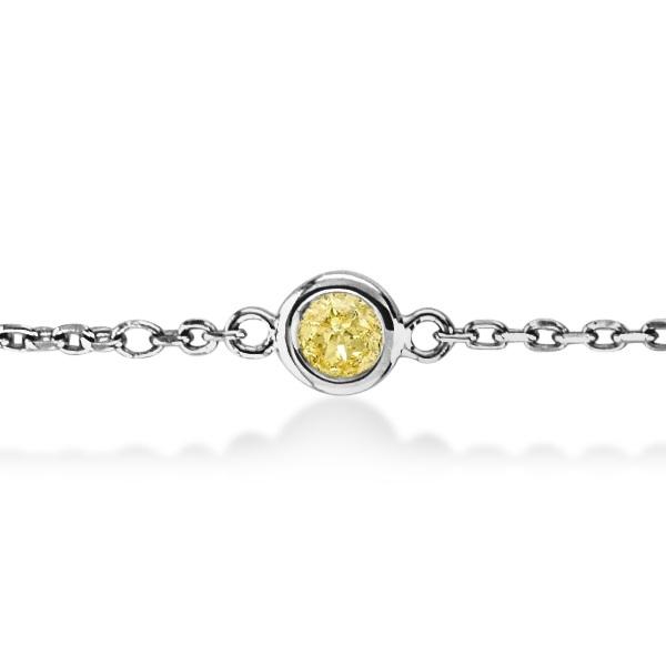 Fancy Yellow Diamond Station Bracelet Beze-Set 14K White Gold (1.00ct)