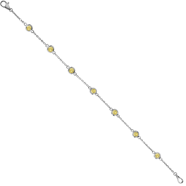 Fancy Yellow Diamond Station Bracelet Beze-Set 14K White Gold (0.25ct)