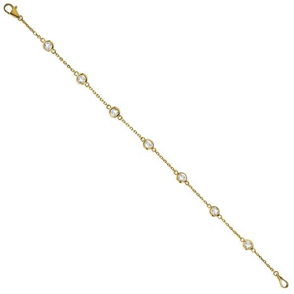 Diamond Anklet Bracelet Bezel Set 14K Yellow Gold (1.00ct)