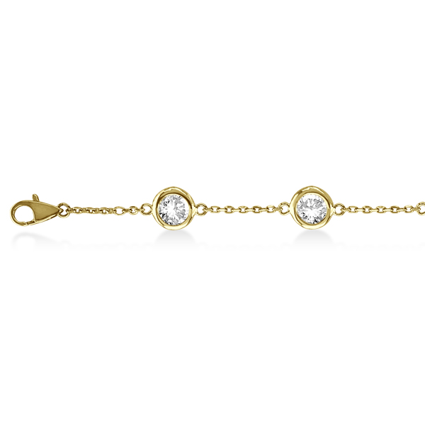 Diamond Station Bracelet Bezel-Set 14K Yellow Gold (1.50ct)
