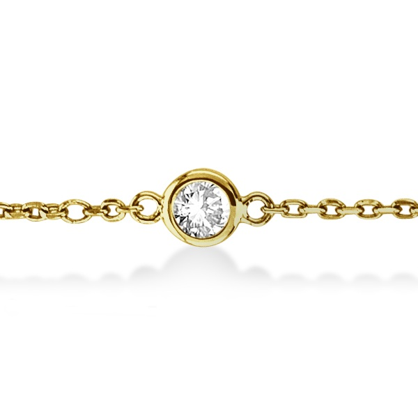Diamond Station Bracelet Bezel-Set 14K Yellow Gold (0.37ct)