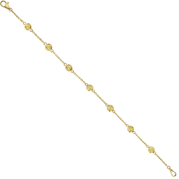 Fancy Yellow Diamond Station Bracelet Beze-Set 14K Y Gold (0.75ct)