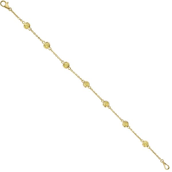 Fancy Yellow Diamond Station Bracelet Beze-Set 14K Y Gold (0.37ct)