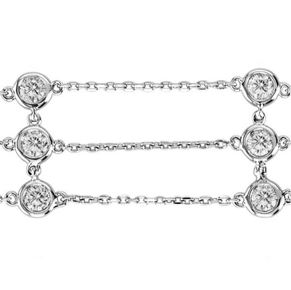 3 Rows Bezel Set Diamonds By The Yard Bracelet 14K White Gold (2.00ct)