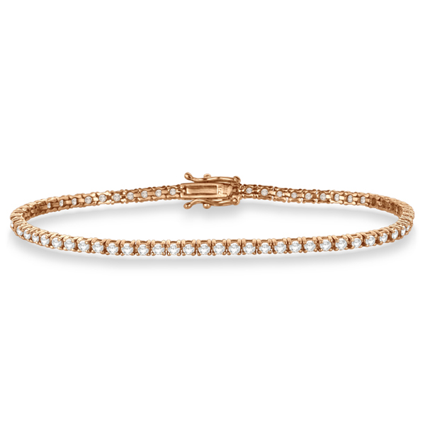 Eternity Diamond Tennis Bracelet 14k Rose Gold (3.00ct)