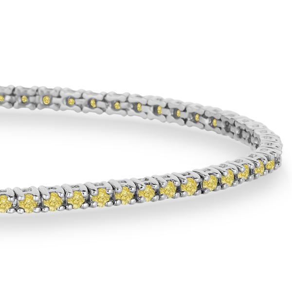 Fancy Yellow Eternity Diamond Tennis Bracelet 14k White Gold (2.10ct)