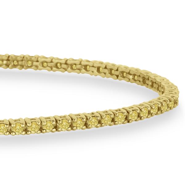 Fancy Yellow Eternity Diamond Tennis Bracelet 14k Y. Gold (2.10ct)