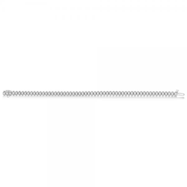Eternity Diamond Tennis Bracelet 14k White Gold Milgrain (2.11 ct)