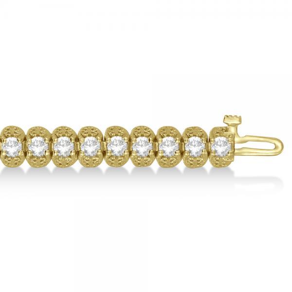 Eternity Diamond Tennis Bracelet 14k Yellow Gold Milgrain (5.20 ct)