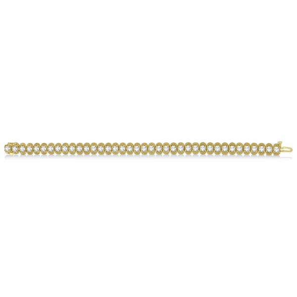Eternity Diamond Tennis Bracelet 14k Yellow Gold Milgrain (7.02 ct)