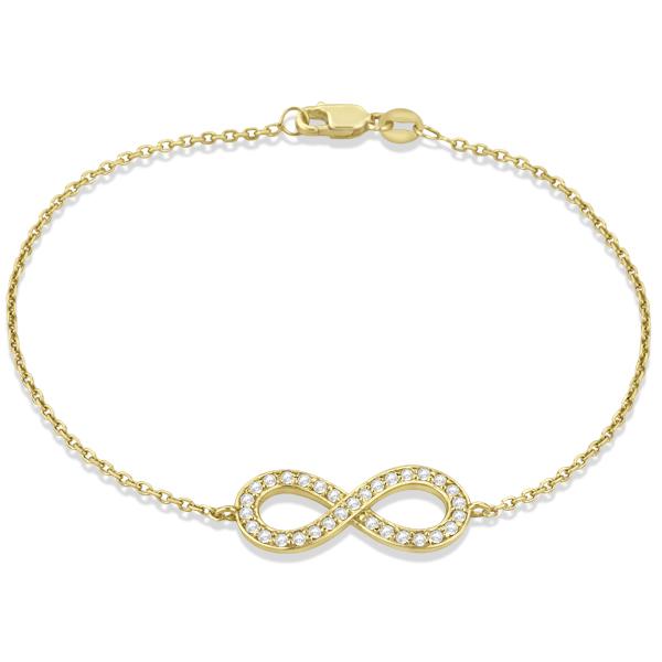 Diamond Sideways Large Infinity Bracelet in 14k Yellow Gold 0.40ct