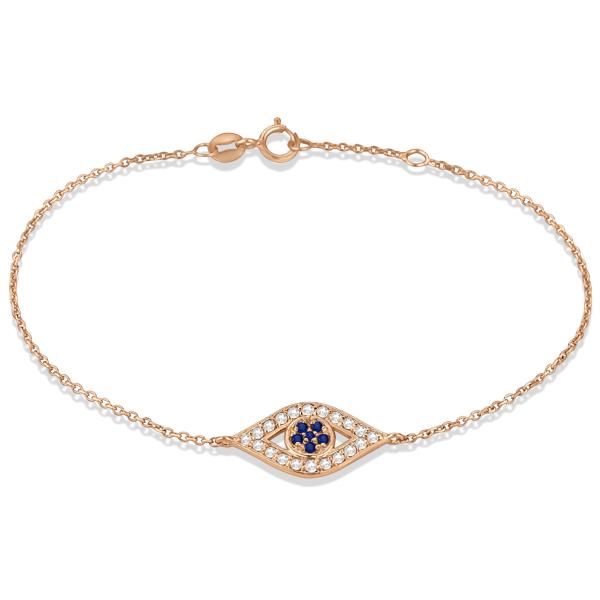 Blue Sapphire Evil Eye Diamond Bracelet in 14k Rose Gold (0.42ct)