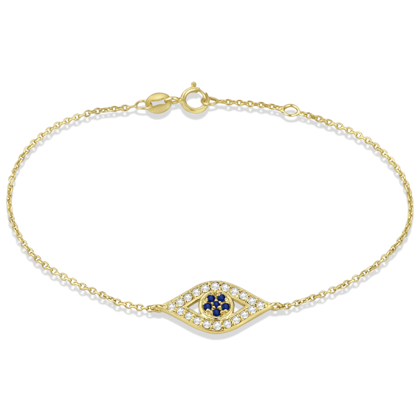 Blue Sapphire Evil Eye Diamond Bracelet in 14k Yellow Gold (1.15ct)