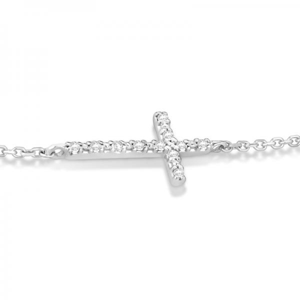 Diamond Accented Sideways Cross Bracelet in 14k White Gold (0.10cts)