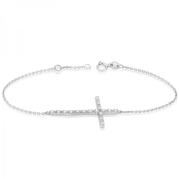 Sideways Cross Chain Bracelet & Diamond Accents 14k White Gold 0.20ct