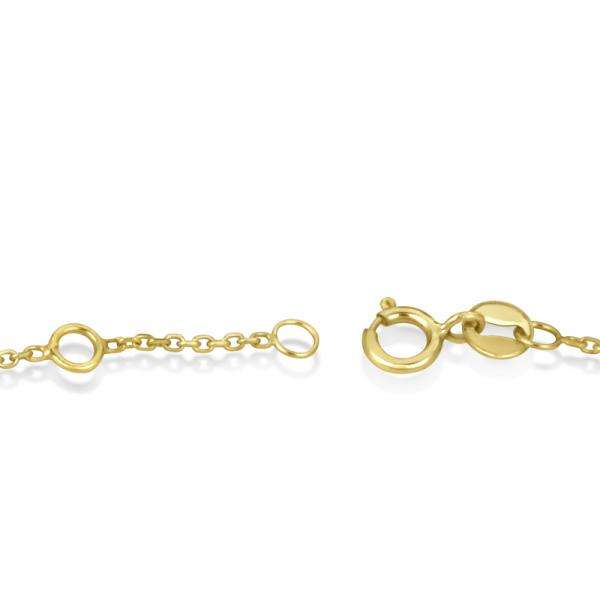 Sideways Cross Chain Bracelet & Diamond Accents 14k Yellow Gold 0.20ct