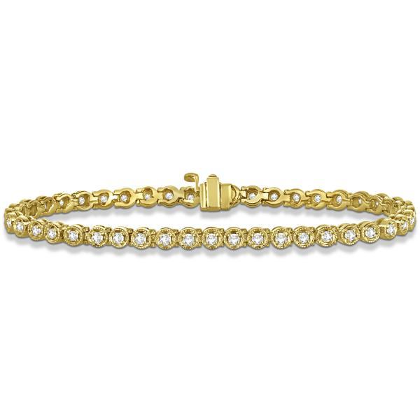 Pave Set Vintage Style Diamond Tennis Bracelet 14k Rose Gold 1.36ct