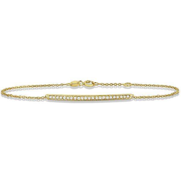 Ladies Diamond Bar Link Bracelet Pave Set 14k Yellow Gold 0.15ct