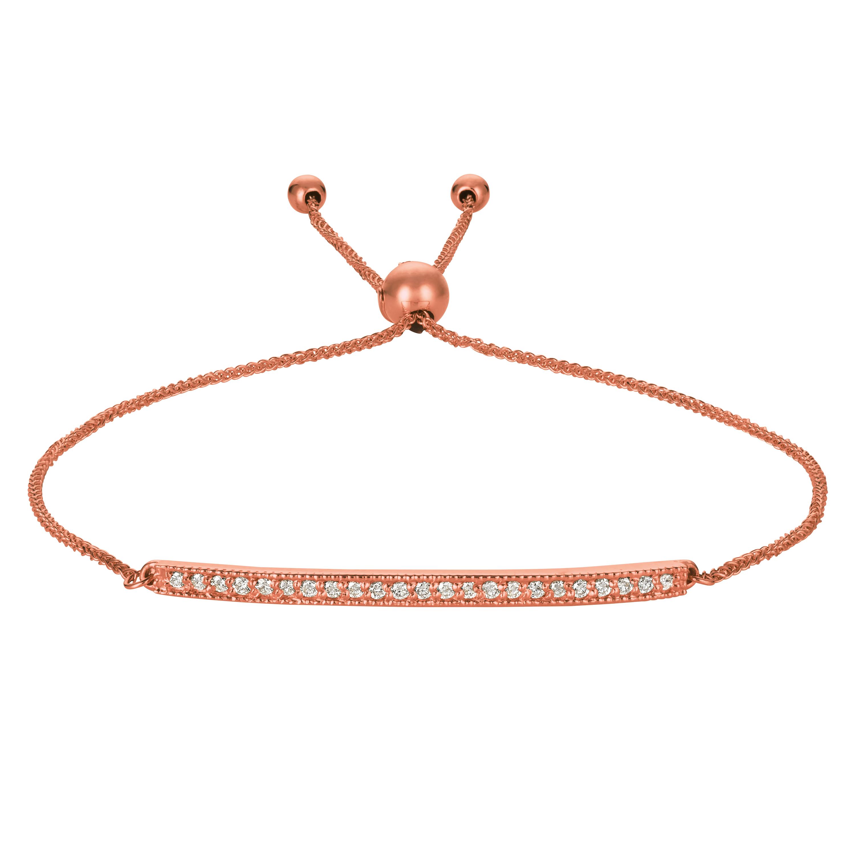 Flexible Rope Friendship Bolo Bar Diamond Bracelet 14k Rose Gold (0.20ct)