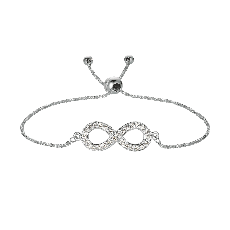 Bolo Diamond Infinity Adjustable Bracelet 14k White Gold (0.25ct)