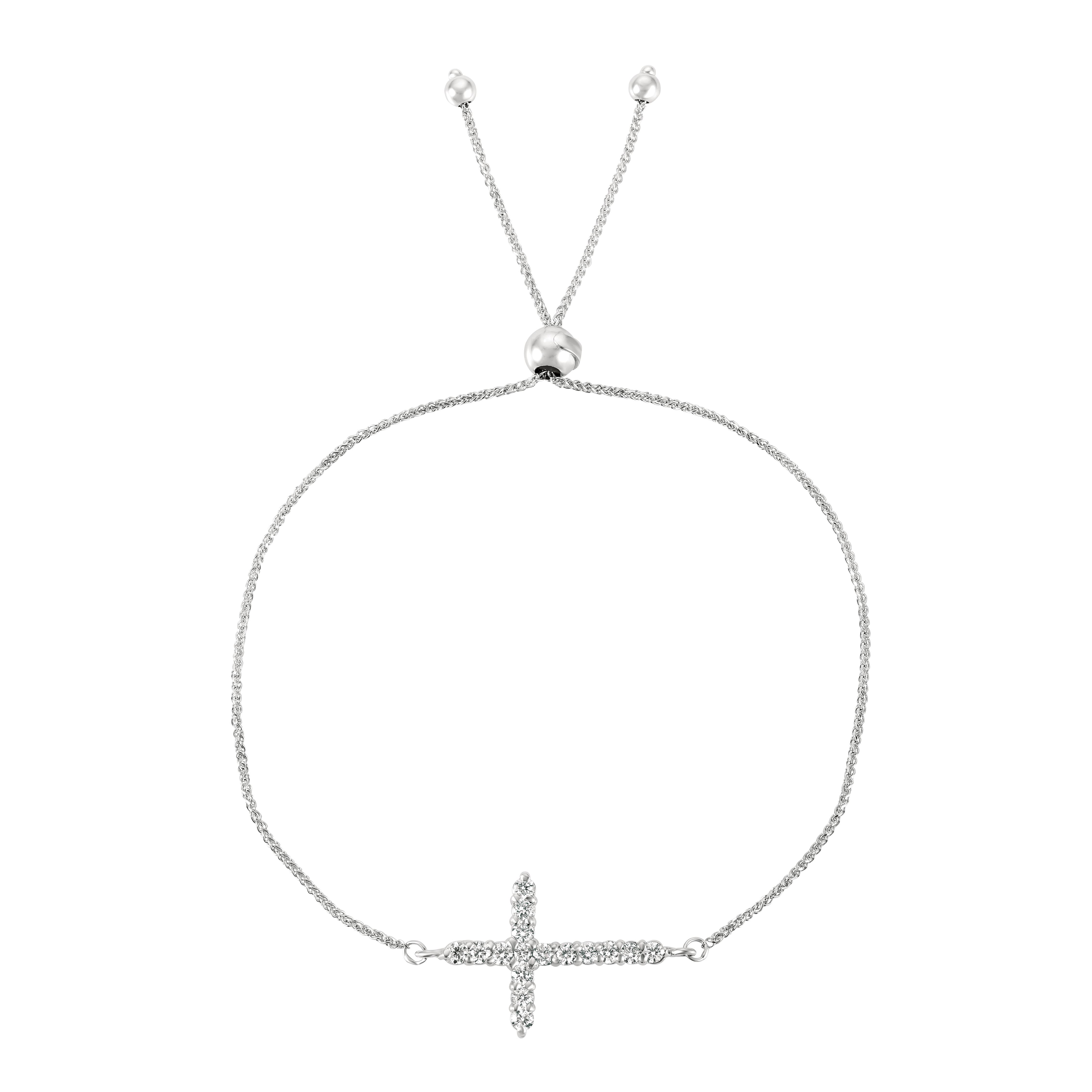 Bolo Diamond Cross Adjustable Bracelet 14k White Gold (0.50ct)