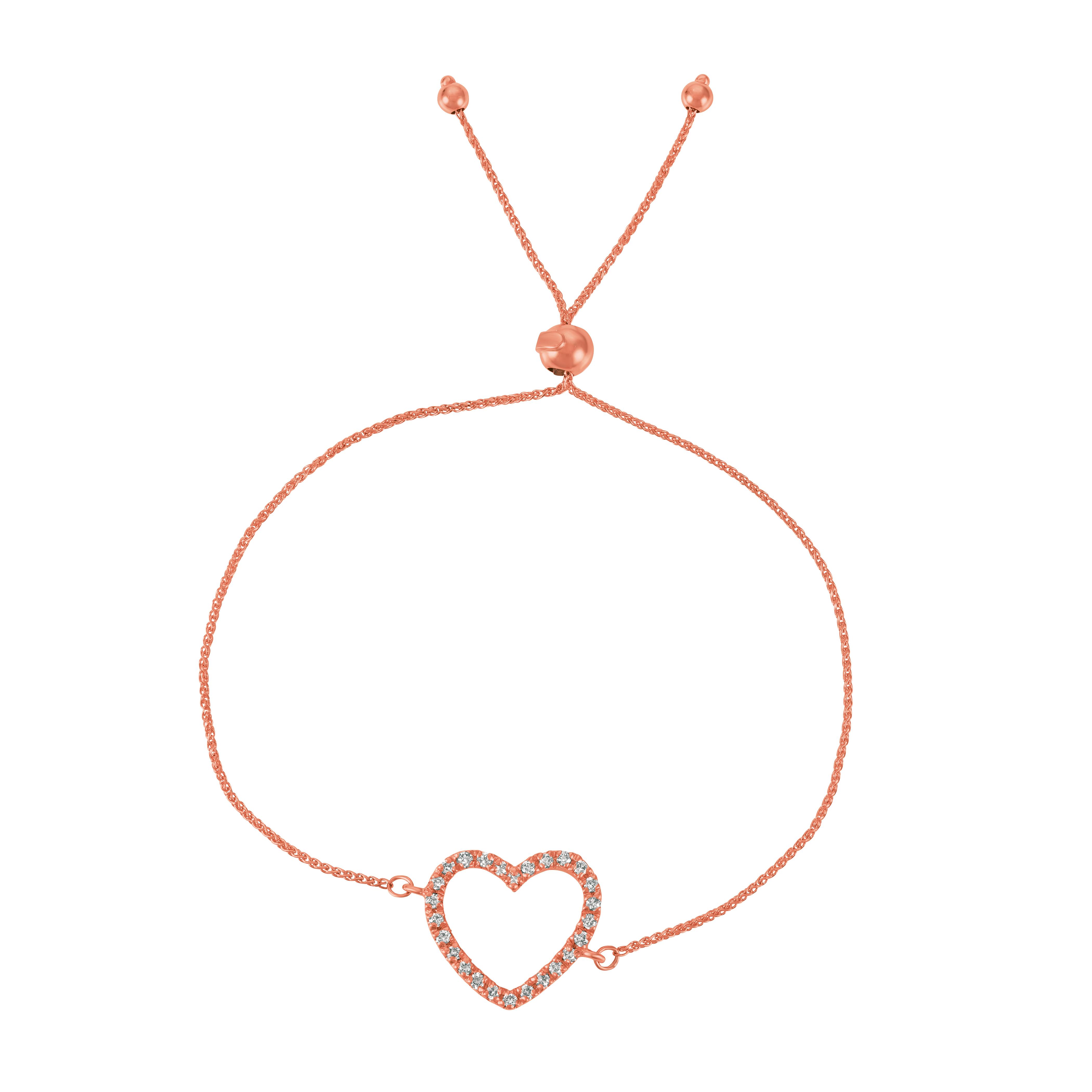 Bolo Diamond Heart Adjustable Bracelet 14k Rose Gold (0.25ct)