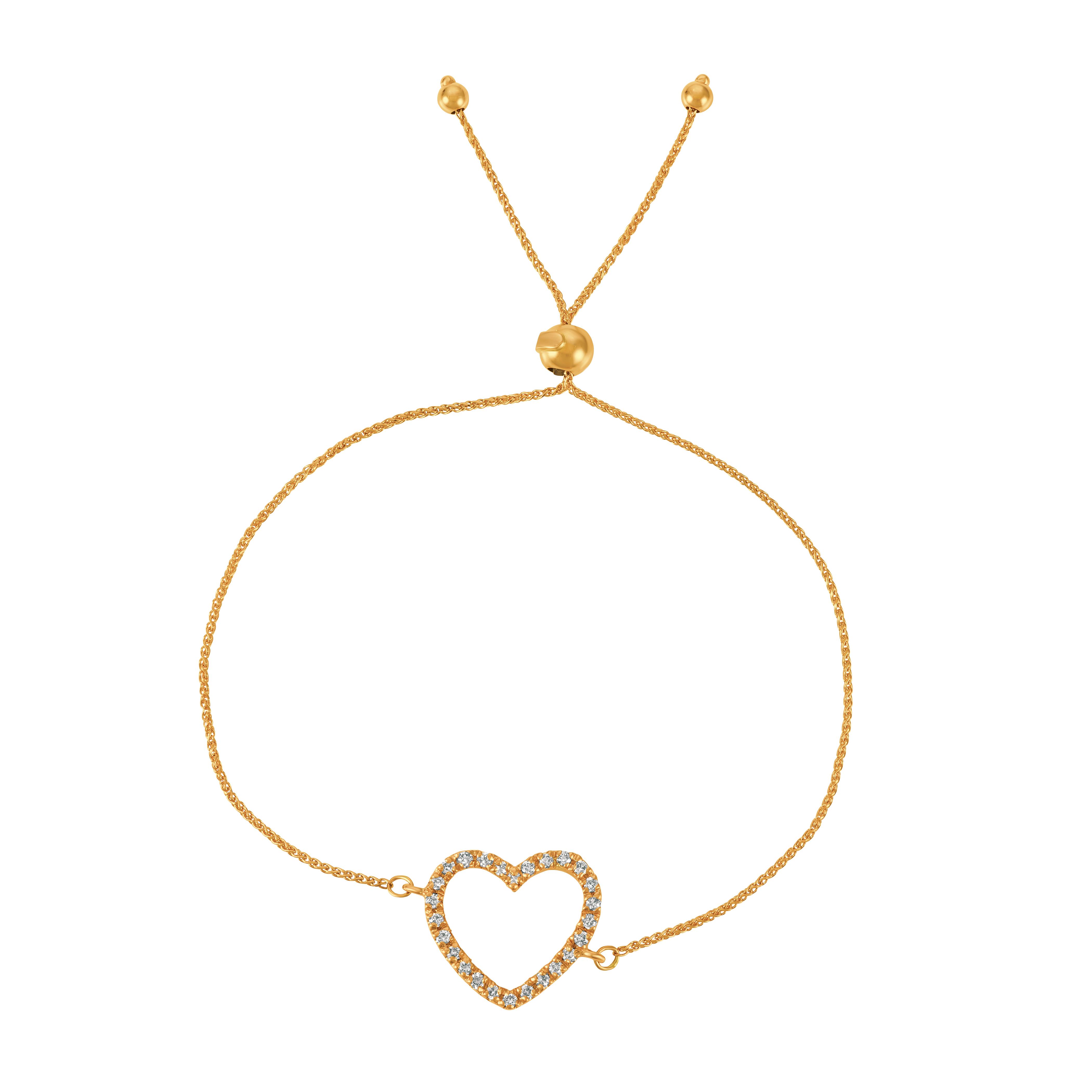 Bolo Diamond Heart Adjustable Bracelet 14k Yellow Gold (0.25ct)
