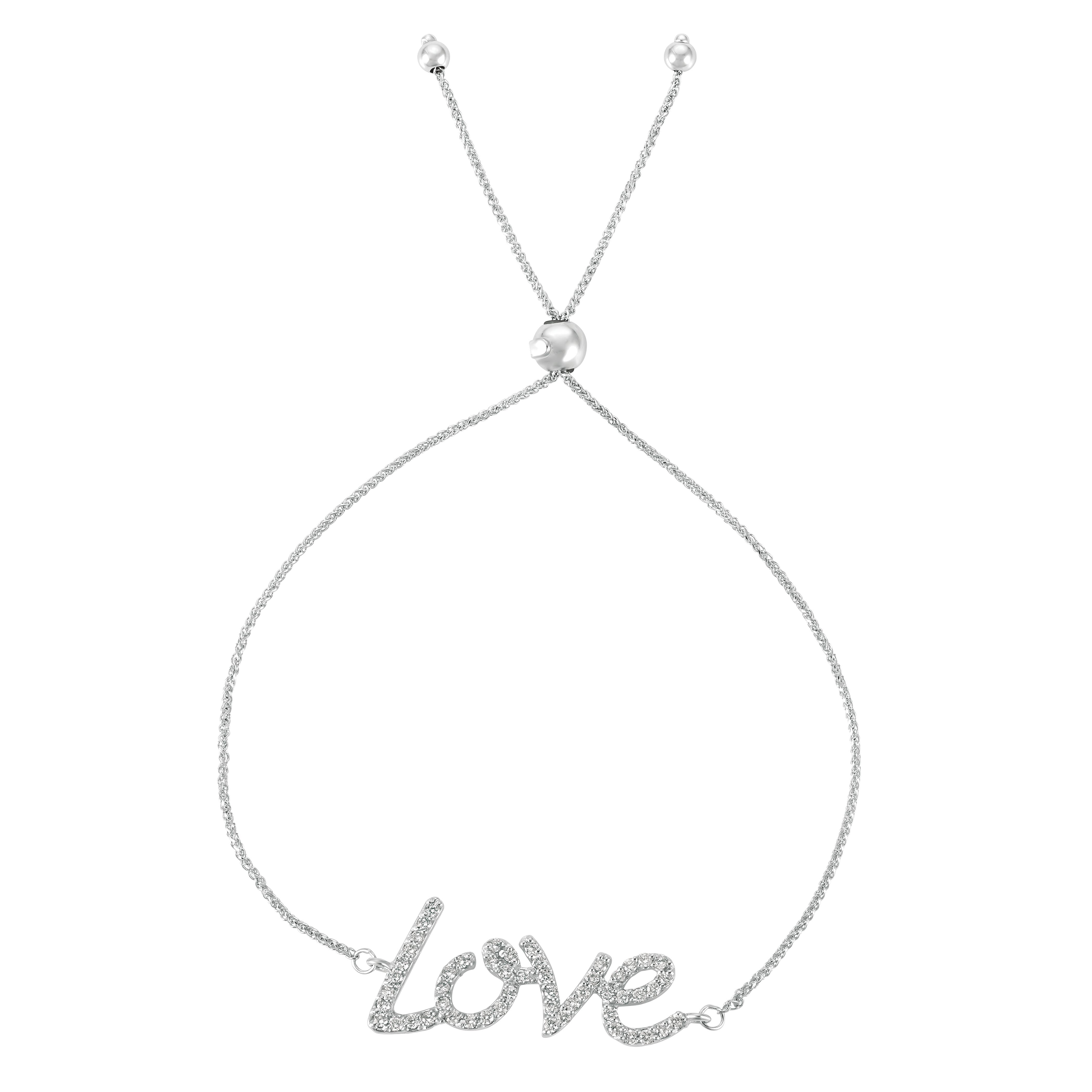 Bolo Diamond Love Adjustable Bracelet 14k White Gold (0.50ct)