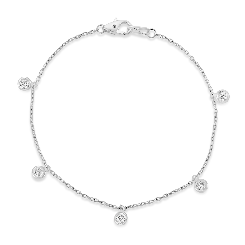 Diamond Dangle Station Bracelet in 14k White Gold (0.25 ctw)