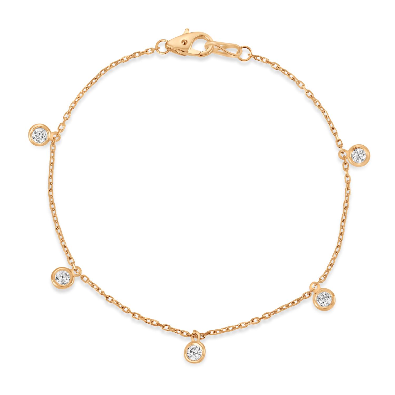 Diamond Dangle Station Bracelet in 14k Rose Gold (0.50 ctw)